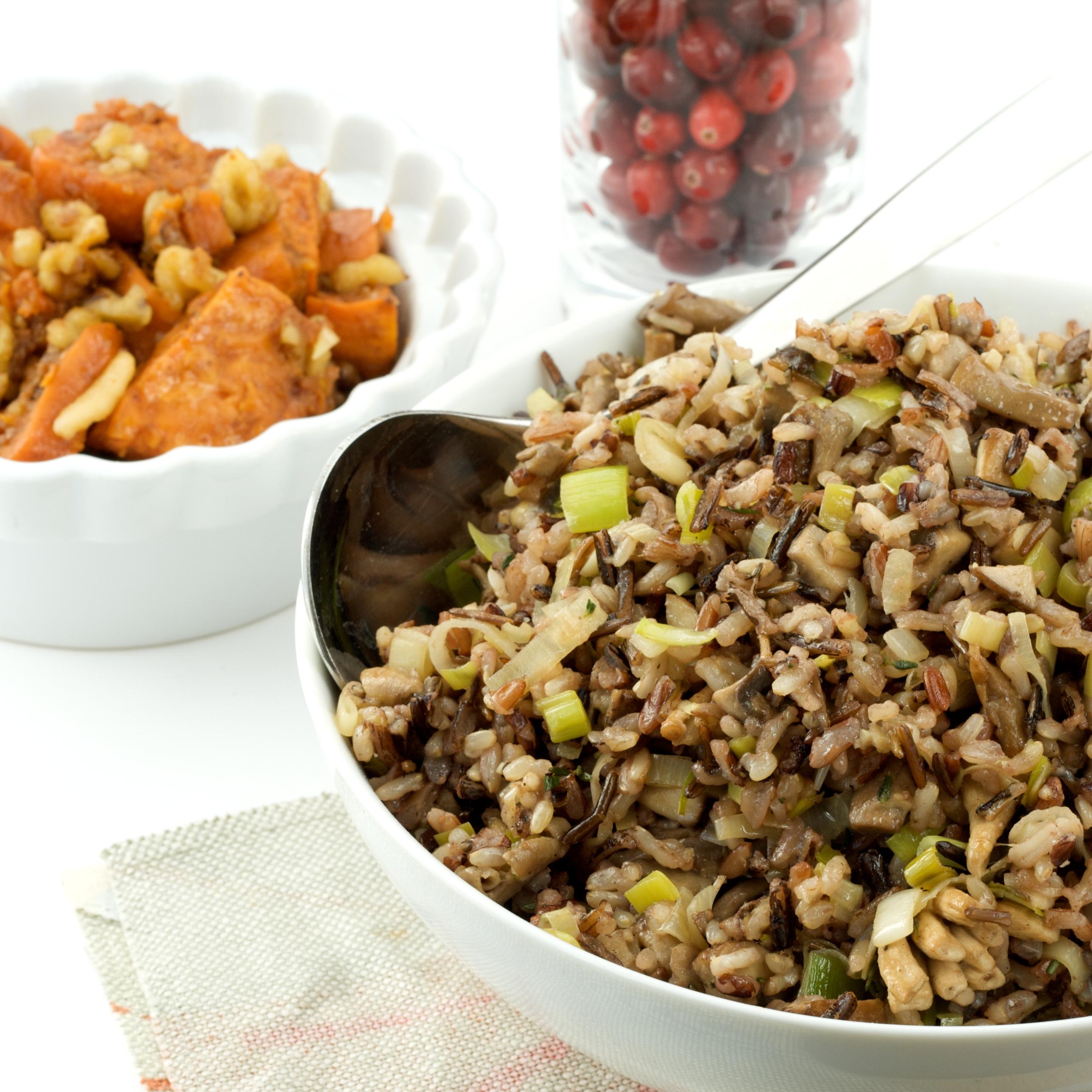 Spiced Maple Roasted Yams + Leek and Mushroom Wild Rice ...