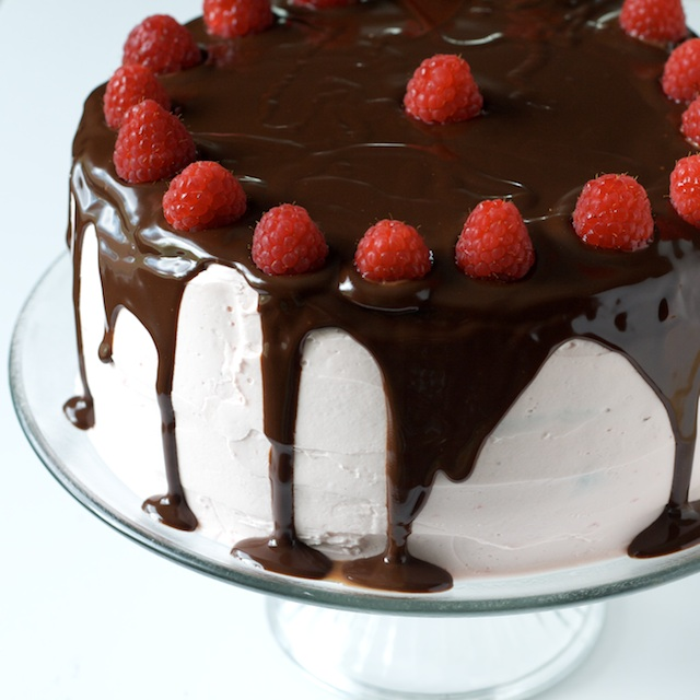 Dark Chocolate Raspberry Truffle Cake