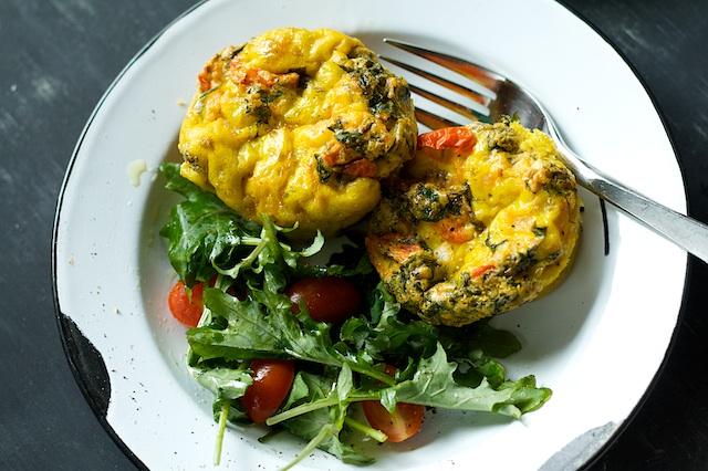 Kale, Potato, Tomato and Onion Mini-Frittatas | Spoon With Me