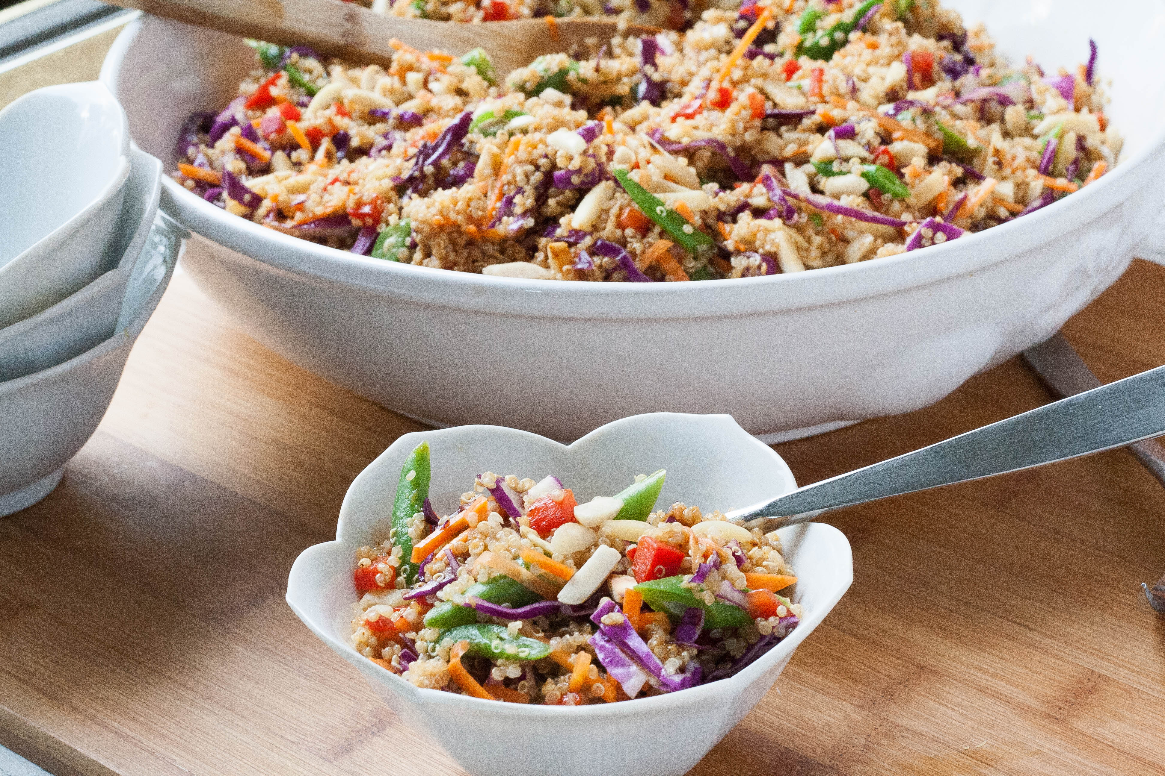 Asian Quinoa Salad with Almond-Soy-Ginger Dressing Spoon With Me